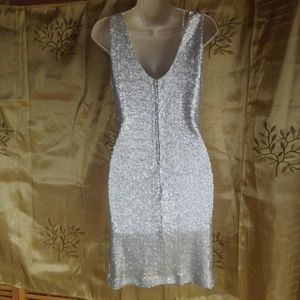 Crystal Doll Dresses - Silver Glitter Sequins Stretch Dress
